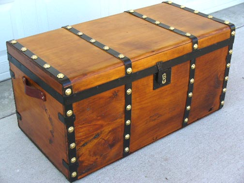 Boxes/chests Nice Large Antique Old Fashioned Blue Cabin Trunk Edwardian (1901-1910)